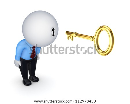 3d small person with a keyhole in a head.Isolated on white background.3d rendered. - stock photo