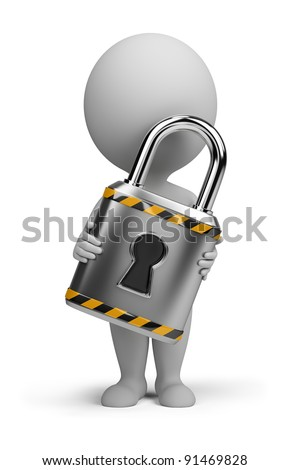 3d small person with a lock in the hands of. 3d image. Isolated white background. - stock photo