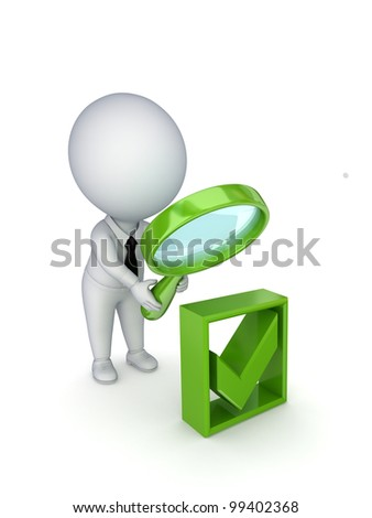 3d small person with a loupe in a hands looking at green tick mark.Isolated on white background.3d rendered. - stock photo
