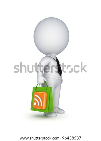 3d small person with a  plastic bag in a hands.Isolated on white background. - stock photo