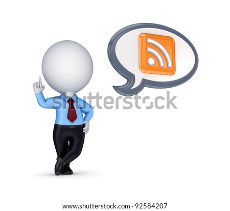 3d small person with a RSS symbol.Isolated on white background. - stock photo