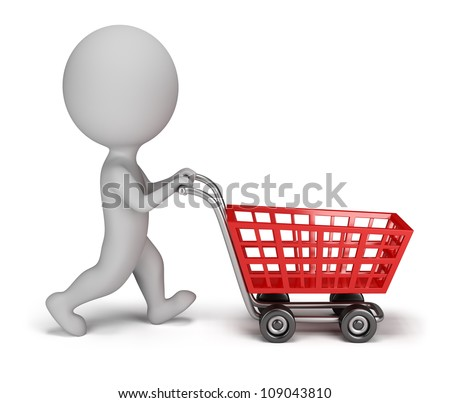 3d small person with a shopping cart. 3d image. Isolated white background. - stock photo