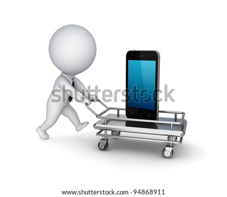 3d small person with a shopping trolley and mobile phone.Isolated on white background.