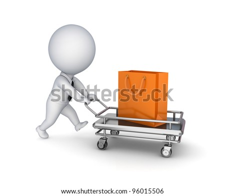 3d small person with a shopping trolley and plastic packet.Isolated on white background.