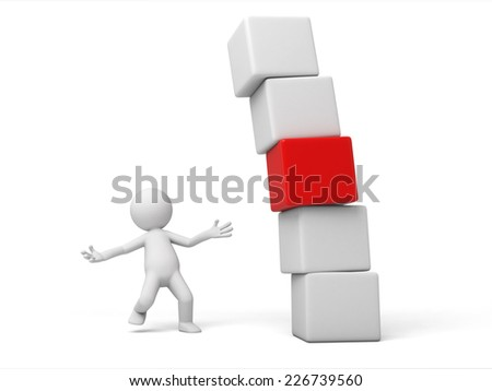 3d small person with a stack of cubes. 3d image. Isolated white background