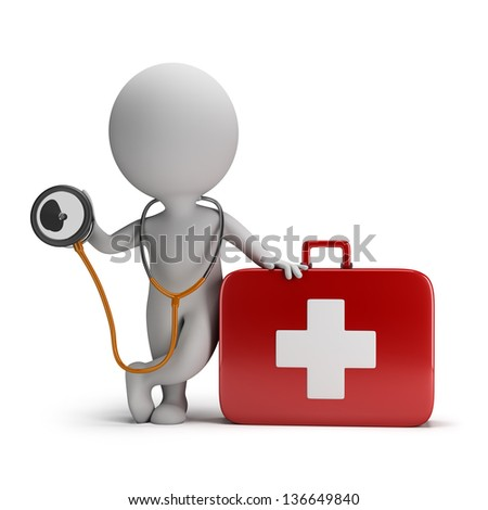 3d small person with a stethoscope and first aid kit. 3d image. White background.