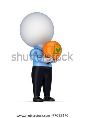 3d small person with a tick mark in a hands.Isolated on white background. - stock photo