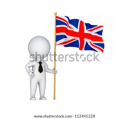 3d small person with a weaving british flag .Isolated on white background.3d rendered. - stock photo