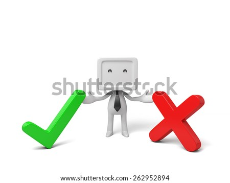 3d small person with a wrong symbol and a right symbol. 3d image. Isolated white background - stock photo