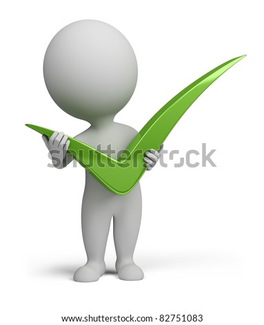 3d small person with big positive symbol in hands . 3d image. Isolated white background.