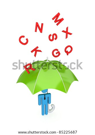 3d small person with big umbrella under the rain of letters.Isolated on white background. - stock photo