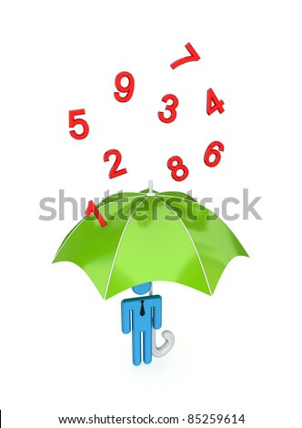 3d small person with big umbrella under the rain of numbers.Isolated on white background. - stock photo