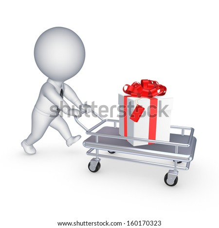 3d small person with giftbox on pushcart.Isolated on white.