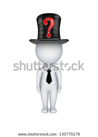 3d small person with red query mark on top-hat. - stock photo