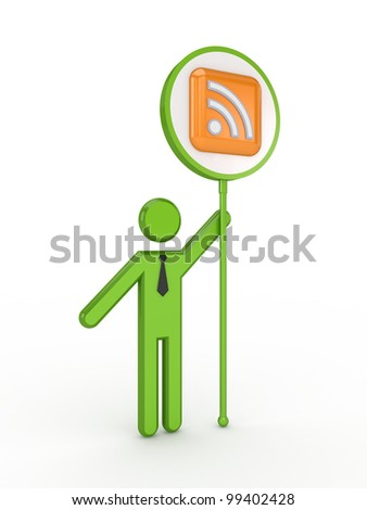 3d small person with RSS symbol.Isolated on white background.3d rendered. - stock photo
