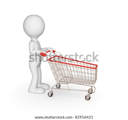 3d small person with shopping trolley. Isolated on white. - stock photo