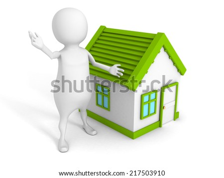 3d small person with small house. real estate concept 3d render illustration - stock photo