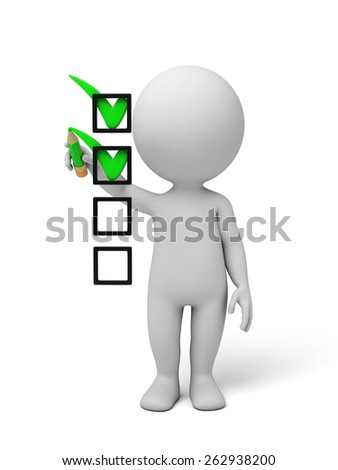 3d small person with some check mark. 3d image. Isolated white background - stock photo