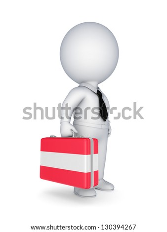 3d small person with suitcase with flag of Austria.