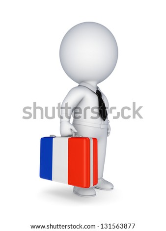 3d small person with suitcase with flag of France.