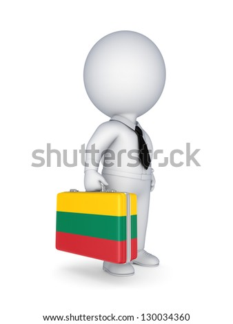 3d small person with suitcase with flag of Lithuania.