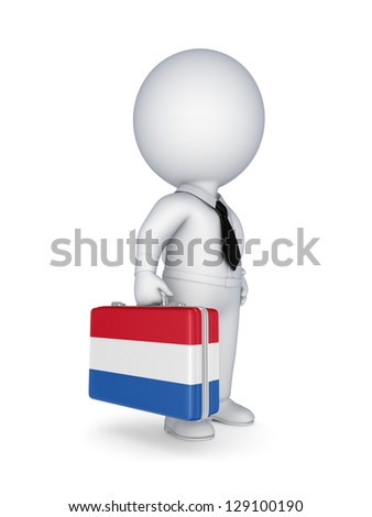 3d small person with suitcase with flag of Netherlands.