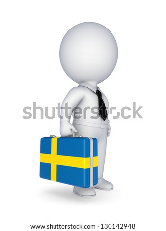 3d small person with suitcase with flag of Sweden.