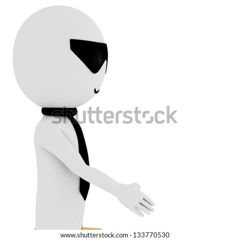 3d small person with thumbs up