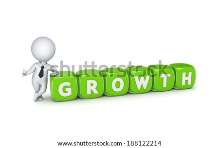 3d small person with word GROWTH.Isolated on white.3d rendered/ - stock photo