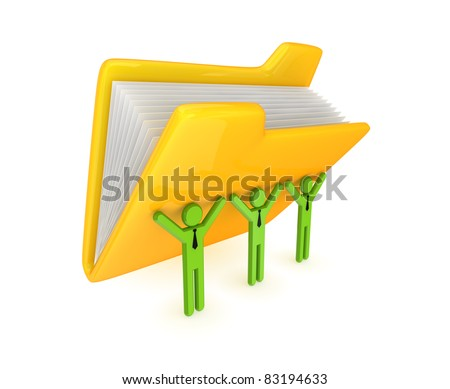 3d small persons and big yellow folder. Isolated on white background.