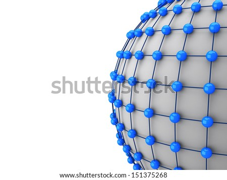 3d small sphere connected to each other with big sphere - stock photo