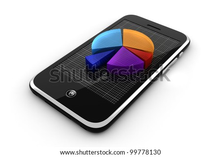3d smart phone and graph, online business concept - stock photo