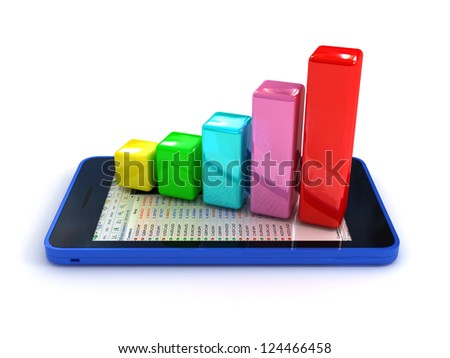 3d smart phone with graph. clipping path included - stock photo