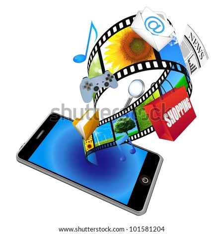 3d smart phone with many application icons - stock photo