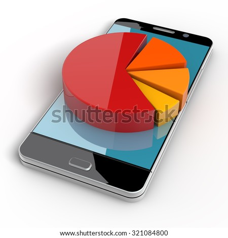 3d smart phone with pie graph. clipping path included - stock photo