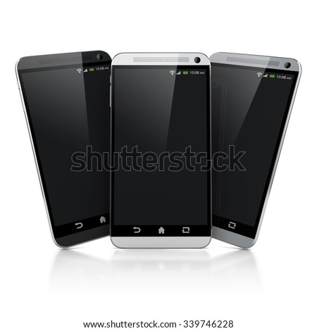 3d smart phones on white background
