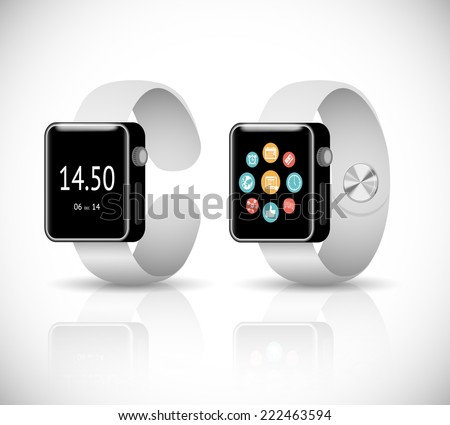 3d smart watch on white background