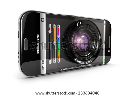 3d smartphone camera, isolated white background, 3d image - stock photo