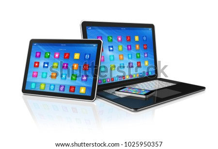 3D Smartphone, Digital Tablet Computer and Laptop isolated on white with clipping path