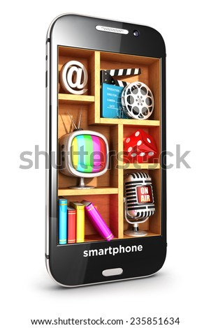 3d smartphone multimedia concept, isolated white background, 3d image
