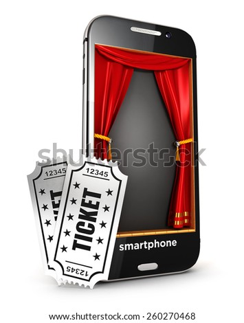 3d smartphone stage and tickets, isolated white background, 3d image - stock photo