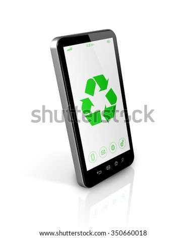 3D Smartphone with a recycle symbol on screen. environmental conservation concept - stock photo