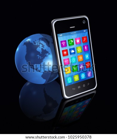 3D Smartphone with apps icons And World Globe isolated on black