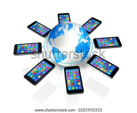 3D Smartphones Around World Globe, isolated on white - Global Communication Concept