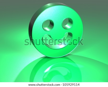 3D Smile Face Green Sign over green background - stock photo