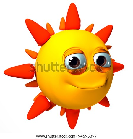 3D smiling sun, yellow, orange and red, isolated on white background - stock photo
