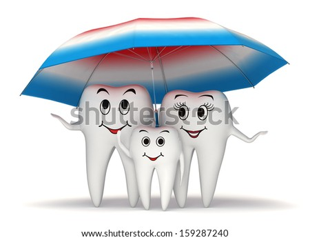 3d smiling tooth family standing under a big toothpaste coated umbrella - health protection concept - stock photo