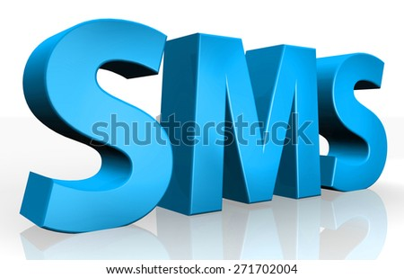 3D SMS text on white background - stock photo