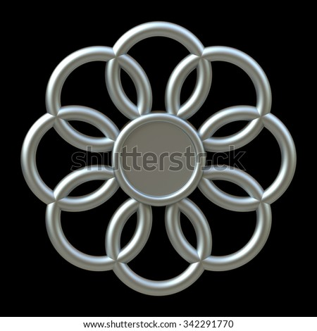 3D Snowflake Christmas Ornament icon design, isolated die cut - stock photo