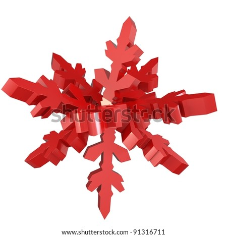 3d snowflake made of red metal on white background